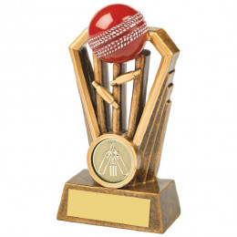 Antique Gold Cricket Wickets Award with Red Ball