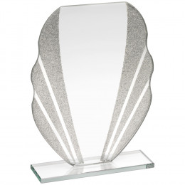 Jade Glass Plaque With Silver Glitter Detail