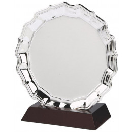 Nickel Plated Chippendale Salver on Wood Stand