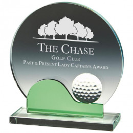 Crystal Golf Award with Green