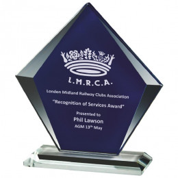 Clear & Blue Glass Diamond Stand Award