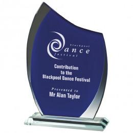 Clear & Blue Glass Curve Award