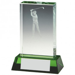 Male Golf Jade Glass Block with Green Base