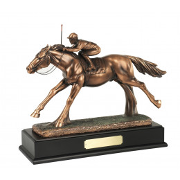 Bronze Plated Jockey & Horse Figure