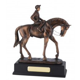 Bronze Plated Horse & Rider Figure