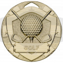 Gold Golf Mini Shield Medal