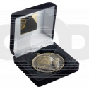 Black Velvet Box And 60Mm Medal Football Trophy - Antique Gold