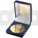 Blue Velvet Box and 50mm  Medal Football Trophy