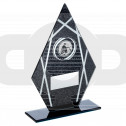 Black & Silver Printed Glass Diamond With Angling Insert Trophy