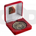 Red Velvet Box And 60Mm Medal Netball Trophy - Antique Gold