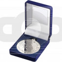 Blue Velvet Box and 50mm Silver Medal Horse Trophy