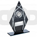 Black & Silver Printed Glass Diamond With Gaelic Football Insert Trophy