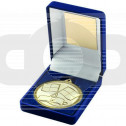 Blue Velvet Box And 50mm Medal Referee Trophy - Gold