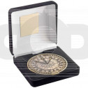 Black Velvet Box And 70mm Medallion Darts Trophy - Antique Gold