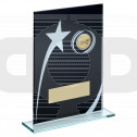 Black & White Printed Glass Plaque With Squash Insert Trophy