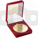 Red Velvet Box and 50mm Medal Rugby Trophy