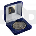 Blue Velvet Box And 60Mm Medal Victory Torch Trophy - Antique Gold